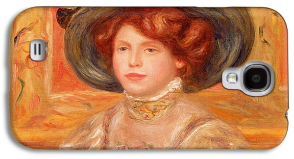 Young Woman In A Blue Hat Galaxy S4 Case by Pierre Auguste Renoir