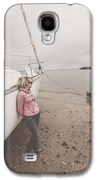 Young Woman Leaning Against A Luxury Yacht Galaxy S4 Case by Jorgo Photography - Wall Art Gallery