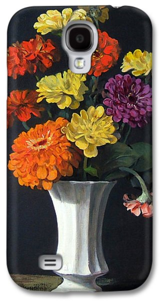 Zinnias Showing Their True Colors In White Vase Galaxy S4 Case