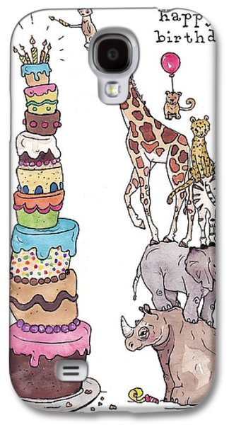 Zoo Animals Happy Birthday Card Galaxy S4 Case by Katrina Davis