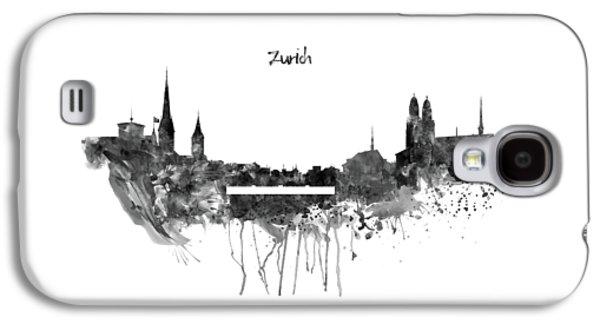 Zurich Black And White Skyline Galaxy S4 Case by Marian Voicu