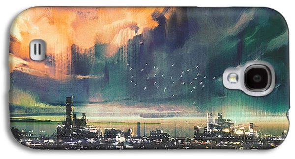 Town Galaxy S4 Case - Landscape Digital Painting Of Sci-fi by Tithi Luadthong