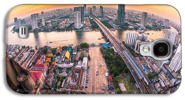 Travel Galaxy S4 Case - Bangkok City At Sunset Taksin Bridge by Travel Mania