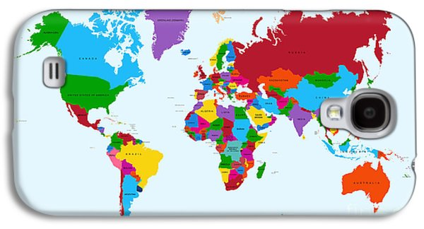 International Travel Galaxy S4 Case - Colorful World Map Countries With Text by Cienpies Design