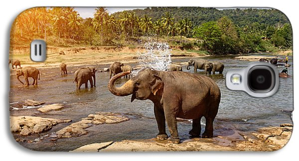 Travel Galaxy S4 Case - Elephants Bathing In The River by Travel Landscapes