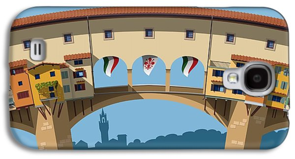 International Travel Galaxy S4 Case - Old Bridge In Florence Flat Illustration by Nikola Knezevic