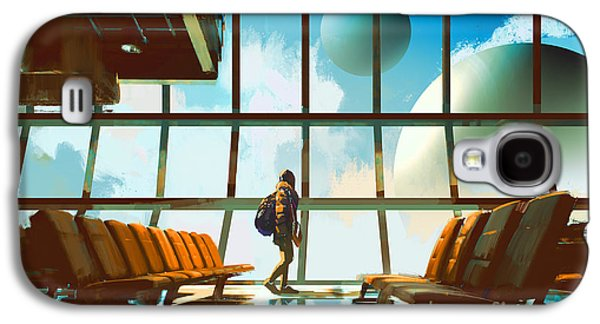 International Travel Galaxy S4 Case - Young Girl Walking In Airport Looking by Tithi Luadthong