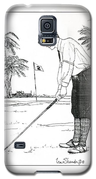 Galaxy S5 Case featuring the drawing  1920's Vintage Golfer by Ira Shander