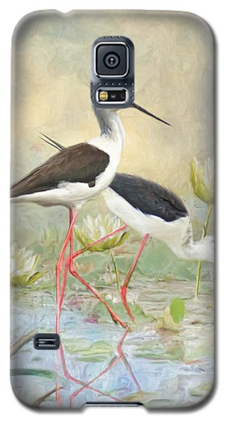 Galaxy S5 Case featuring the digital art  Black Winged Stilt by Trudi Simmonds