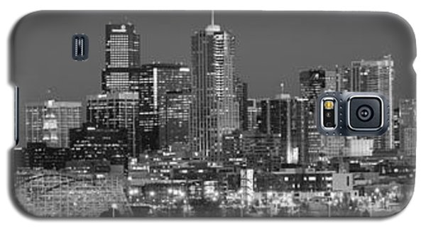 Galaxy S5 Case featuring the photograph  Denver Skyline At Dusk Black And White Bw Evening Extra Wide Panorama Broncos  by Jon Holiday