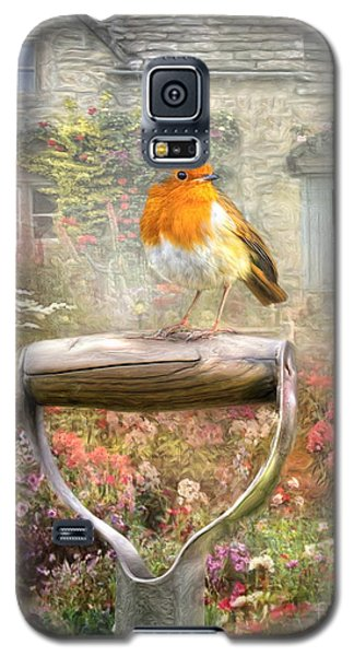 Galaxy S5 Case featuring the digital art  English Robin by Trudi Simmonds