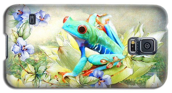Galaxy S5 Case featuring the digital art  Frog On The Flowers by Trudi Simmonds