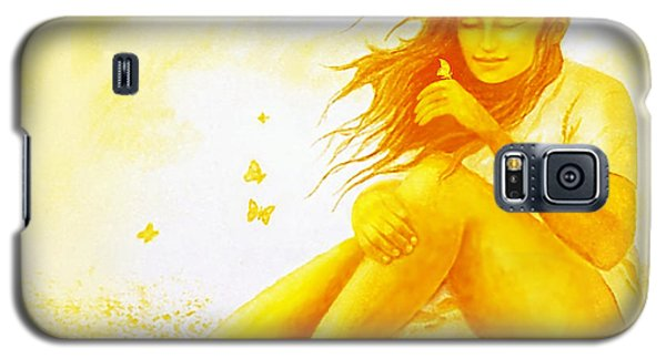 Galaxy S5 Case featuring the painting  Golden  Butterfly  Girl by Hartmut Jager