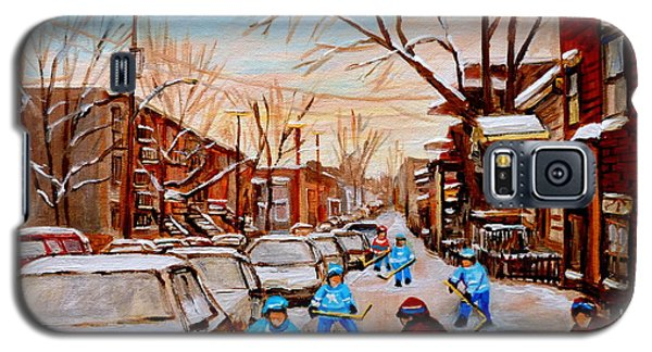 Hockey Art- Verdun Street Scene - Paintings Of Montreal Galaxy S5 Case