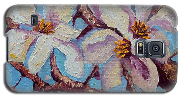 Magnolia Flower Painting Oil On Canvas Fine Art By Ekaterina Chernova  Galaxy S5 Case