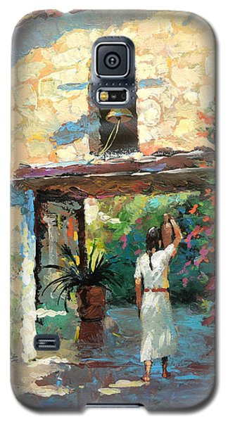 Galaxy S5 Case featuring the painting -mexican Girl With Jug by Dmitry Spiros