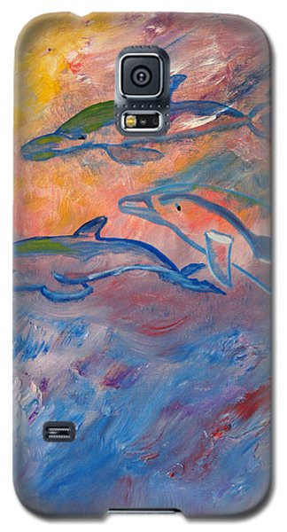 Galaxy S5 Case featuring the painting  Soaring Dolphins by Meryl Goudey