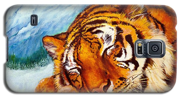 Galaxy S5 Case featuring the painting  Tiger Sleeping In Snow by Bob and Nadine Johnston