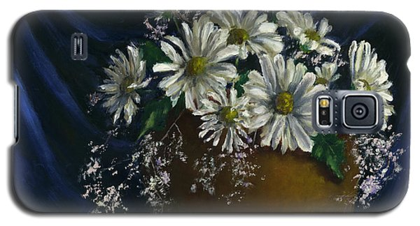 White Daisies In Blue Fabric Still Life Art Galaxy S5 Case