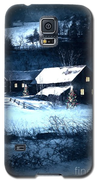 Snow Scene Of A Farmhouse At Night/ Digital Painting Galaxy S5 Case