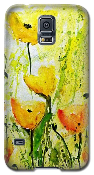 Yellow Poppy 2 - Abstract Floral Painting Galaxy S5 Case