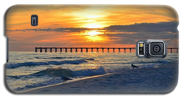 0108 Sunset Colors Over Navarre Pier On Navarre Beach With Gulls Galaxy S5 Case by Jeff at JSJ Photography