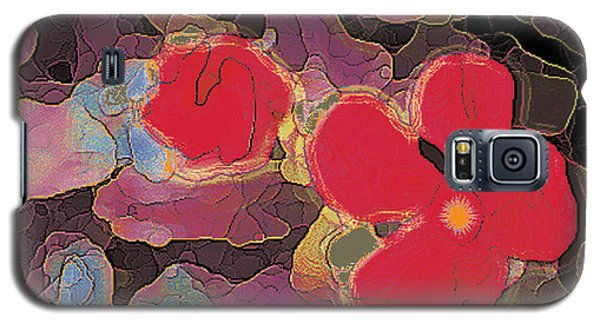 044 Cosmic Impatiens 6 With Blue Galaxy S5 Case