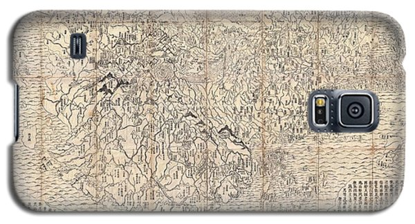 1710 First Japanese Buddhist Map Of The World Showing Europe America And Africa Galaxy S5 Case by Paul Fearn
