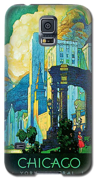 Galaxy S5 Case featuring the mixed media 1929 Chicago - Vintage Travel Art by Presented By American Classic Art