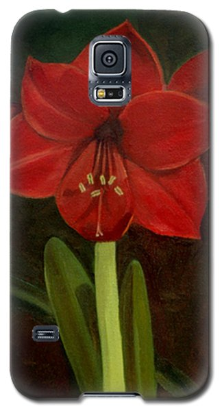Galaxy S5 Case featuring the painting Amaryllis by Nancy Griswold