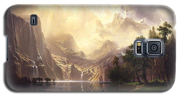 Galaxy S5 Case featuring the painting Among The Sierra Nevada Mountains California by Albert Bierstadt