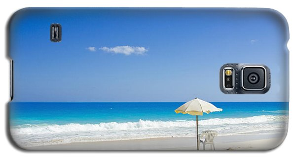 Galaxy S5 Case featuring the photograph Beach Chair And Umbrella On Idyllic Tropical Sand by Mohamed Elkhamisy