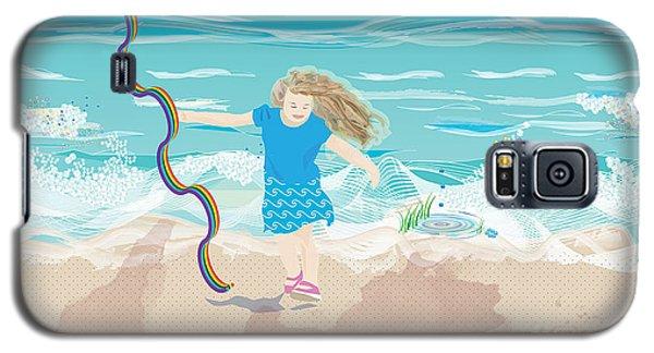 Galaxy S5 Case featuring the digital art Beach Rainbow Girl by Kim Prowse