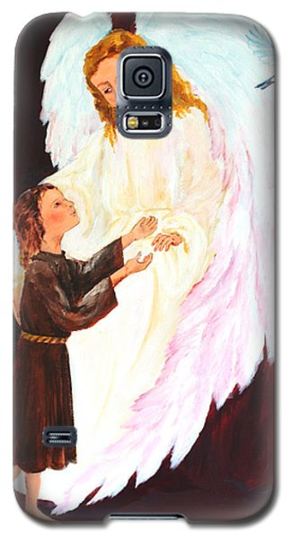 Galaxy S5 Case featuring the painting Blue Bird Of Happiness by Ellen Canfield