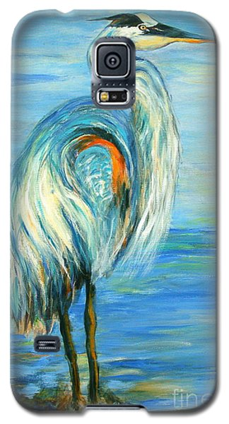 Galaxy S5 Case featuring the painting Blue Heron I by Ellen Anthony