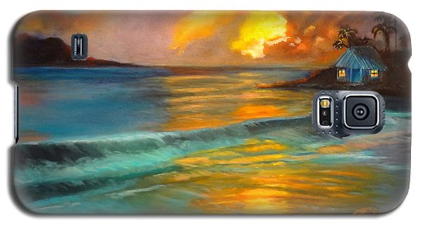 Galaxy S5 Case featuring the painting Blue Sunset by Jenny Lee