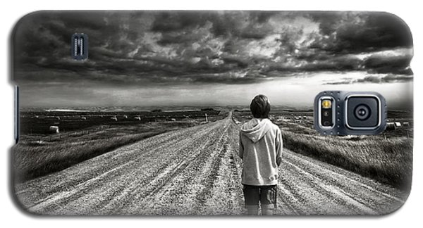 Boy Walking On Dark Lonely Road In Early Evening  Galaxy S5 Case