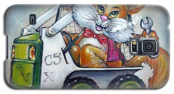 Galaxy S5 Case featuring the painting Cat C5x 190312 by Selena Boron