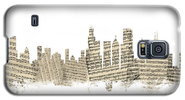 Chicago Illinois Skyline Sheet Music Cityscape Galaxy S5 Case by Michael Tompsett