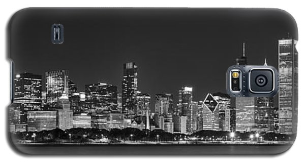Chicago Skyline At Night Black And White Panoramic Galaxy S5 Case by Adam Romanowicz