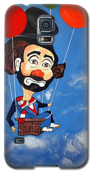Galaxy S5 Case featuring the painting Clown Up Up And Away by Nora Shepley