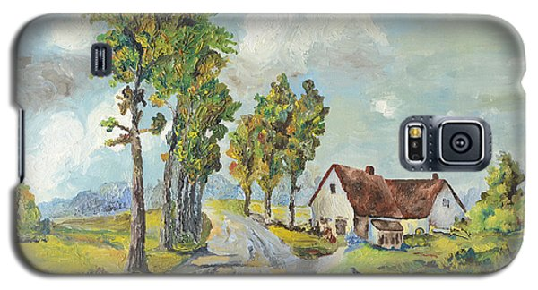 Galaxy S5 Case featuring the painting Cottage On Poplar Lane by Mary Ellen Anderson