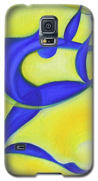 Galaxy S5 Case featuring the painting Dancing Sprite In Yellow And Blue by Tiffany Davis-Rustam