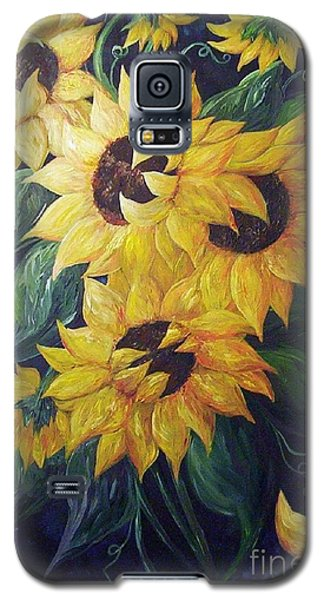Galaxy S5 Case featuring the painting Dancing Sunflowers  by Eloise Schneider