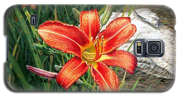 Galaxy S5 Case featuring the painting Day Lily by Bob  George