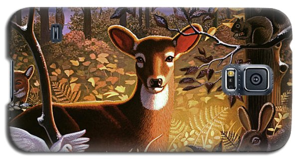 Galaxy S5 Case featuring the painting Deer In The Forest by Robin Moline
