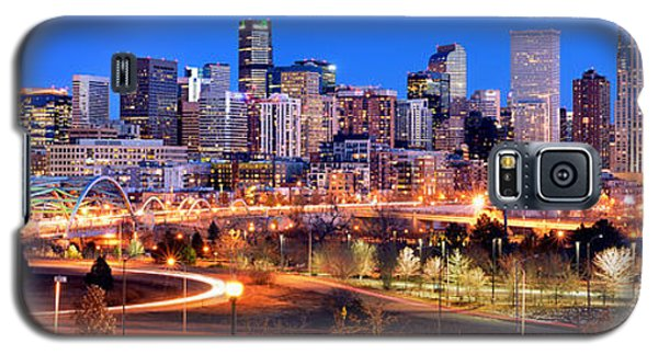 Galaxy S5 Case featuring the photograph Denver Skyline At Dusk Evening Color Evening Panorama Broncos Colorado  by Jon Holiday