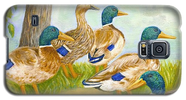 Galaxy S5 Case featuring the painting Diva Duck And The Mallards by Jeanne Kay Juhos