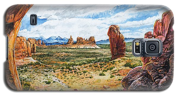 Galaxy S5 Case featuring the painting Double Arch by Aaron Spong