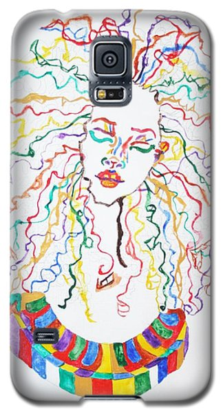 Galaxy S5 Case featuring the painting Dreadlocks Piano Goddess by Stormm Bradshaw